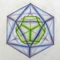 A pupil's colour study of nested polyhedra.