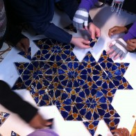 Home School group arrange the hand made tiles