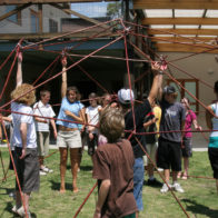 Geodesic net is raised from the ground