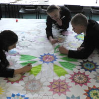 Pattern and collage progect led by Richard Henry. Students add colour and pattern to collaged design.