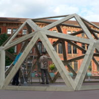 Modular frame structure in pine with 5.4m span. Adam Williamson & Richard Henry (2010)