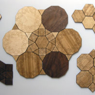 Set of laser cut tiles designed for interactive exhibit at Royal Society Summer Show 2009, Richard Henry