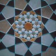 Oak table with tile mosaic top, Richard Henry (2001)