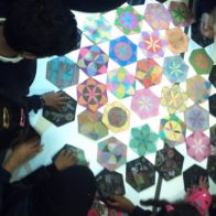School workshop exploring symmetry and pattern led by Richard Henry and Adam Williamson.