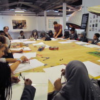 Adam teaching a geometry workshop to a group of gifted and talented students from St Paul's Way School. The workshop took place at The Truman Brewery, Brick lane, East London
