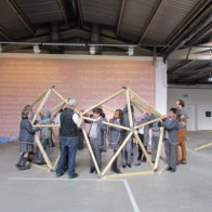 Adam And Richard teaching a geometry workshop to a group of gifted and talented students from St Paul's Way School. The workshop took place at The Truman Brewery, Brick lane, East London