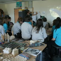 Stone carving workshop at Maesteg School, Wales