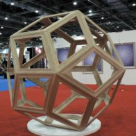 Rhombic Triacontahedron in Oak, 1.8 m x 1.8 m, Adam Williamson & Richard Henry (October 2010)