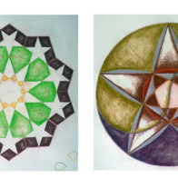 A selection of different pupils' colour work exploring 10 and 5-fold symmetry.