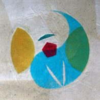 Block print on torn Chinese papers on canvas, 20cm x 29cm, Richard Henry (2006)